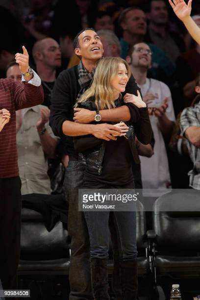 Ellen Pompeo and Chris Ivery attend a game between the Miami Heat and the Los Angeles Lakers at Staples Center on December 4 2009 in Los Angeles...