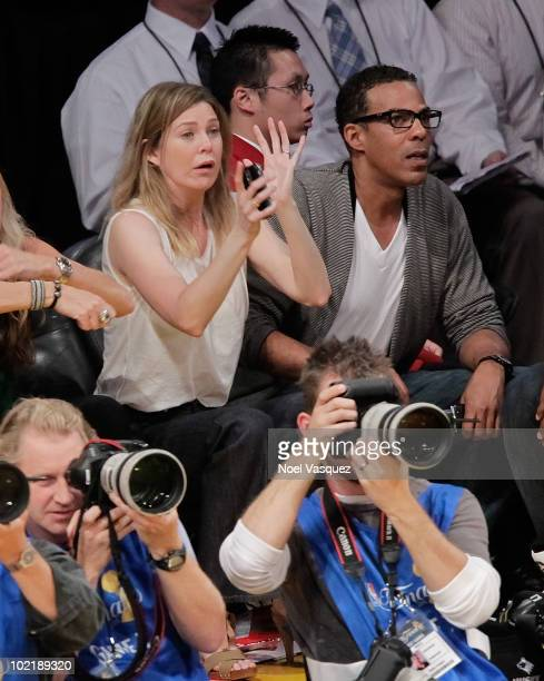 Ellen Pompeo and Chris Ivery attend Game Seven of the NBA playoff finals between the Boston Celtics and the Los Angeles Lakers during the 2010 NBA...