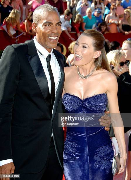Ellen Pompeo and Christopher Ivery during 58th Annual Primetime Emmy Awards Arrivals at Shrine Auditorium in Los Angeles California United States
