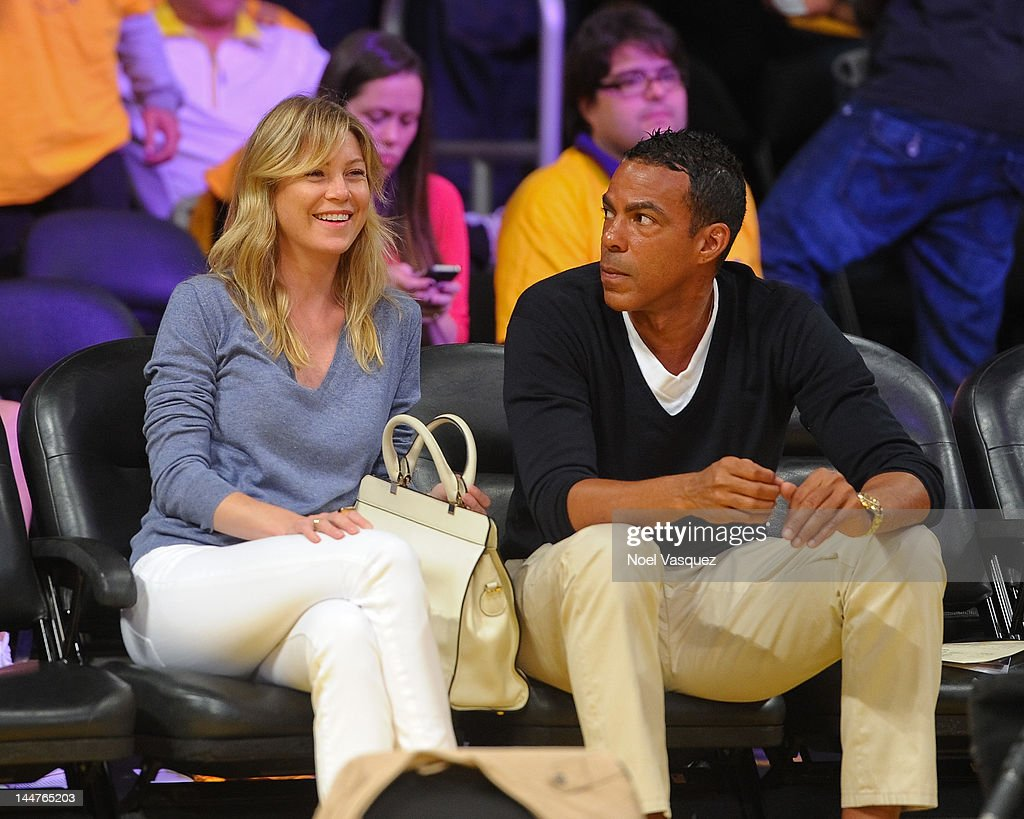 <a gi-track='captionPersonalityLinkClicked' href=/galleries/search?phrase=Ellen+Pompeo&family=editorial&specificpeople=240269 ng-click='$event.stopPropagation()'>Ellen Pompeo</a> (L) and husband <a gi-track='captionPersonalityLinkClicked' href=/galleries/search?phrase=Chris+Ivery&family=editorial&specificpeople=4109706 ng-click='$event.stopPropagation()'>Chris Ivery</a> attend the Los Angeles Lakers and Oklamhoma City Thunder Game 3 of the Western Conference Semifinals in the 2012 NBA Playoffs on May 18, 2012 in Los Angeles, California.