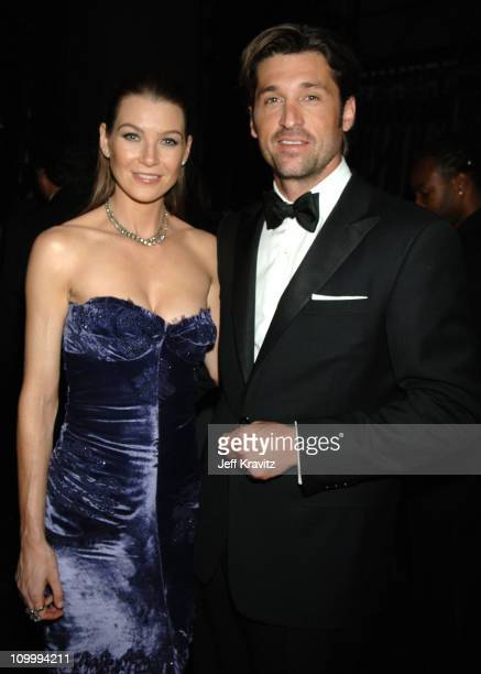 Ellen Pompeo and Patrick Dempsey during 58th Annual Primetime Emmy Awards Backstage at The Shrine Auditorium in Los Angeles California United States