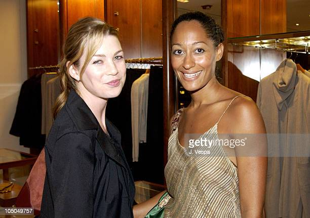 Ellen Pompeo and Tracee Ellis Ross during Hermes Party for 'Happy Hand' by Hilton McConnico at Hermes Store Rodeo in Beverly Hills California United...