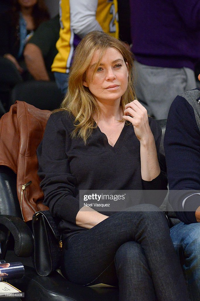 Ellen Pompeo attends a basketball game between the Miami Heat and the Los Angeles Lakers at Staples Center on January 17, 2013 in Los Angeles, California.