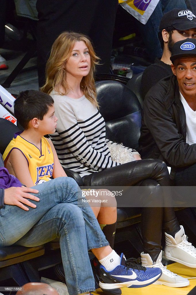 <a gi-track='captionPersonalityLinkClicked' href=/galleries/search?phrase=Ellen+Pompeo&family=editorial&specificpeople=240269 ng-click='$event.stopPropagation()'>Ellen Pompeo</a> attends a basketball game between the Oklahoma City Thunder and the Los Angeles Lakers at Staples Center on January 27, 2013 in Los Angeles, California.
