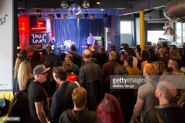 Ellen Smith James Warrender and Chris Quick of Shadowlark perform at Nation Of Shopkeepers during Live At Leeds on April 29 2017 in Leeds England...