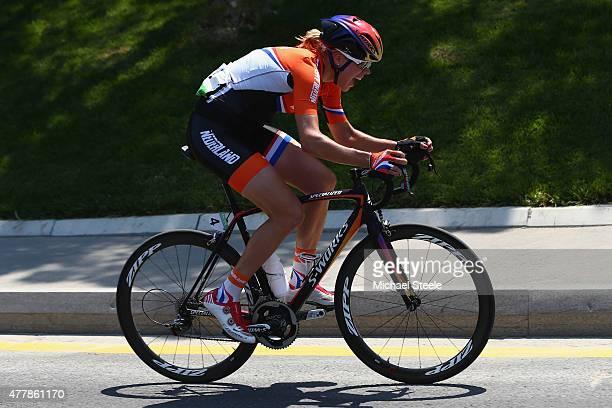Ellen Van Dijk of Netherlands in the Women's Road Race during day eight of the Baku 2015 European Games at Freedom Square on June 20 2015 in Baku...