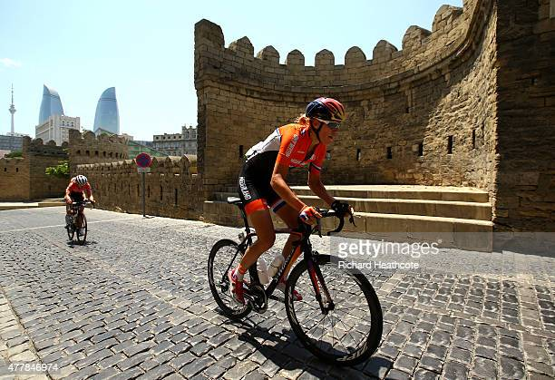 Ellen Van Dijk of the Netherlands makes a climb through the Old Town during the Women's Road Race on day eight of the Baku 2015 European Games at...