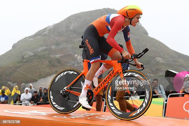 Ellen van Dijk of the Netherlands starts the Cycling Road Women's Individual Time Trial on Day 5 of the Rio 2016 Olympic Games at Pontal on August 10...