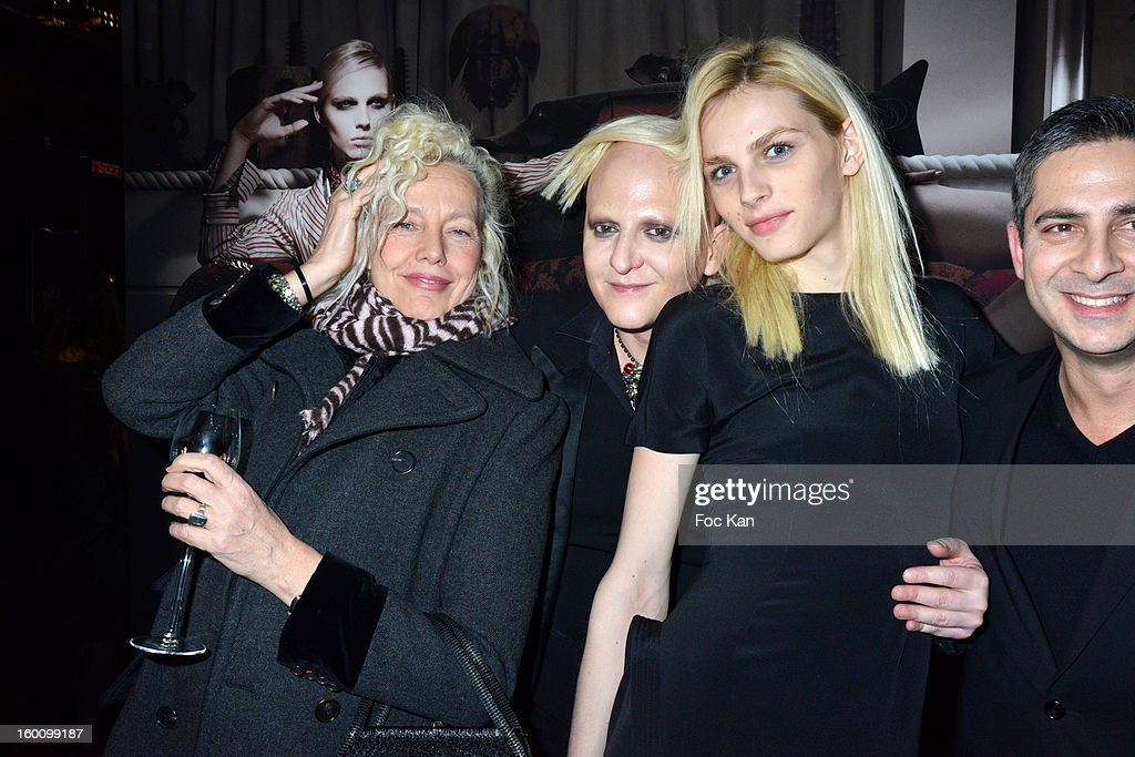 Ellen Von Unwerth, Ali Mahdavi and Andreas Pejic attend the 'Body Double' Ali Mahdavi Exhibition Preview Cocktail At Hotel W on January 25, 2013 in Paris, France.