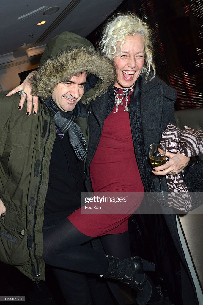 Ellen Von Unwerth and her husband Christian (R) attend the 'Body Double' Ali Mahdavi Exhibition Preview Cocktail At Hotel W on January 25, 2013 in Paris, France.