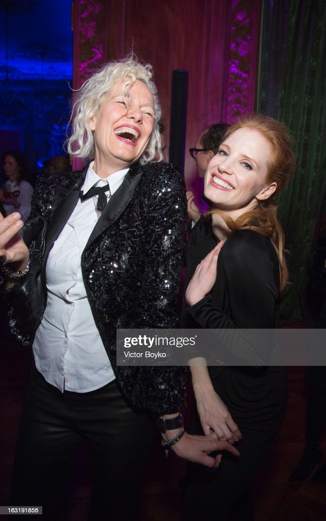 Ellen von Unwerth and <a gi-track='captionPersonalityLinkClicked' href=/galleries/search?phrase=Jessica+Chastain&family=editorial&specificpeople=653192 ng-click='$event.stopPropagation()'>Jessica Chastain</a> attends 'CR Fashion Book Issue 2' - Carine Roitfeld Cocktail as part of Paris Fashion Week at Hotel Shangri-La on March 5, 2013 in Paris, France.