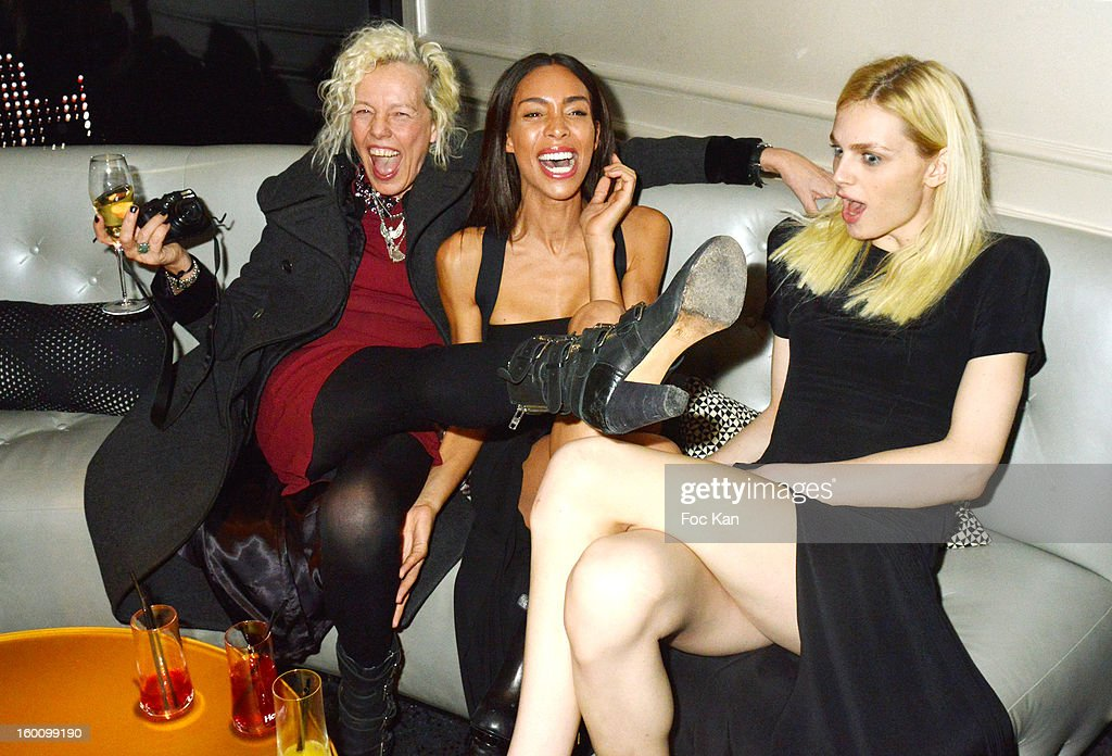 <a gi-track='captionPersonalityLinkClicked' href=/galleries/search?phrase=Ellen+Von+Unwerth&family=editorial&specificpeople=2092632 ng-click='$event.stopPropagation()'>Ellen Von Unwerth</a>, Ines Rau and Andreas Pejic attend the 'Body Double' Ali Mahdavi Exhibition Preview Cocktail At Hotel W on January 25, 2013 in Paris, France.
