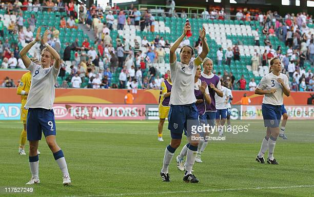 Ellen White Alex Scott and Rachel Unitt of England waves to they fans after the FIFA Women's World Cup Group B match between Mexico and England at...