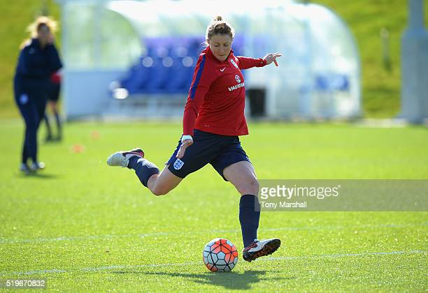 Ellen White during the England Women Training Session at St Georges Park on April 5 2016 in BurtonuponTrent England
