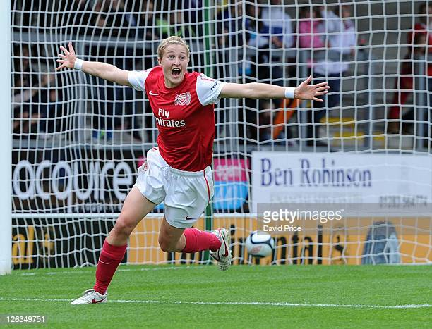 Ellen White of Arsenal celebrates scoring Arsenal's 1st goal during the FA WSL Continental Cup Final between Birmingham City Ladies FC and Arsenal...