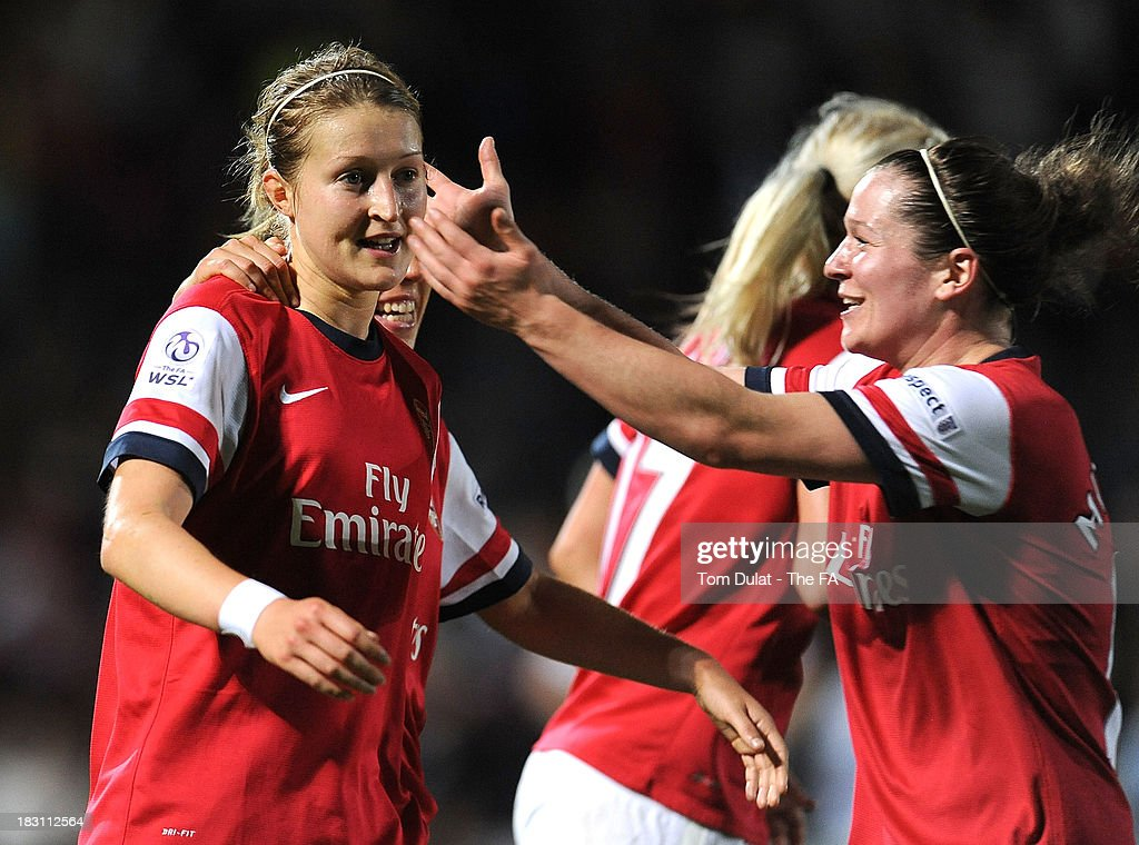 Ellen White of Arsenal Ladies celebrates scoring the opening goal with Emma Mitchell during the The FA WSL Continental Cup Final match between...