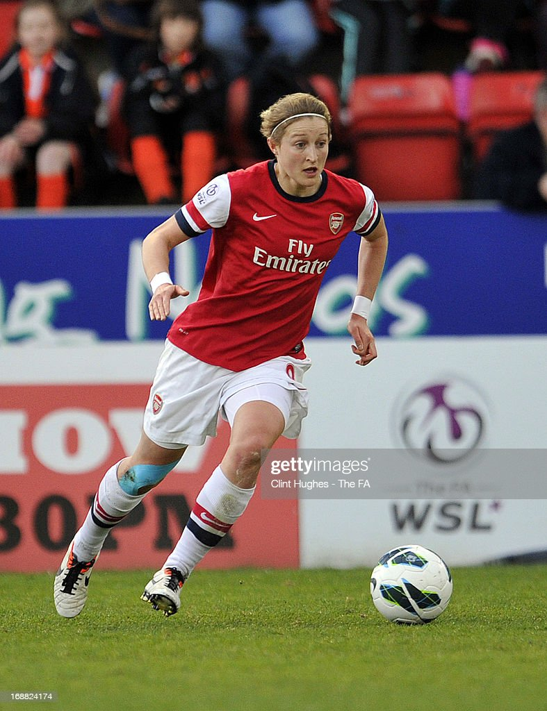 Ellen White of Arsenal Ladies during the FA WSL match between Lincoln Ladies FC and Arsenal Ladies FC at the Sincil Bank Stadium on May 15, 2013 in Lincoln, England