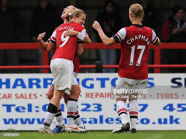 Ellen White of Arsenal Ladies FC celebrates her goal with Steph Houghton during the FA WSL match between Arsenal Ladies FC and Liverpool Ladies FC at...