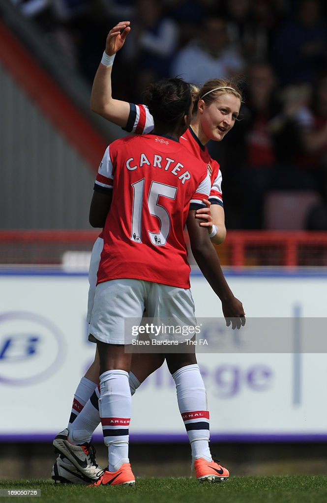 <a gi-track='captionPersonalityLinkClicked' href=/galleries/search?phrase=Ellen+White&family=editorial&specificpeople=4436830 ng-click='$event.stopPropagation()'>Ellen White</a> of Arsenal Ladies FC celebrates scoring the opening goal with Danielle Carter during the FA WSL Continental Cup match between Arsenal Ladies FC and Bristol Academy>> at Meadow Park on May 19, 2013 in Borehamwood, England.