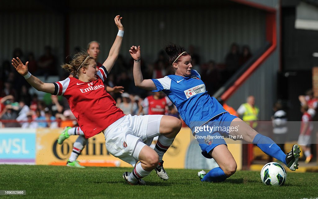 <a gi-track='captionPersonalityLinkClicked' href=/galleries/search?phrase=Ellen+White&family=editorial&specificpeople=4436830 ng-click='$event.stopPropagation()'>Ellen White</a> of Arsenal Ladies FC challenges for the ball with Jasmine Matthews of Bristol Academy Women's FC during the FA WSL Continental Cup match between Arsenal Ladies FC and Bristol Academy at Meadow Park on May 19, 2013 in Borehamwood, England.