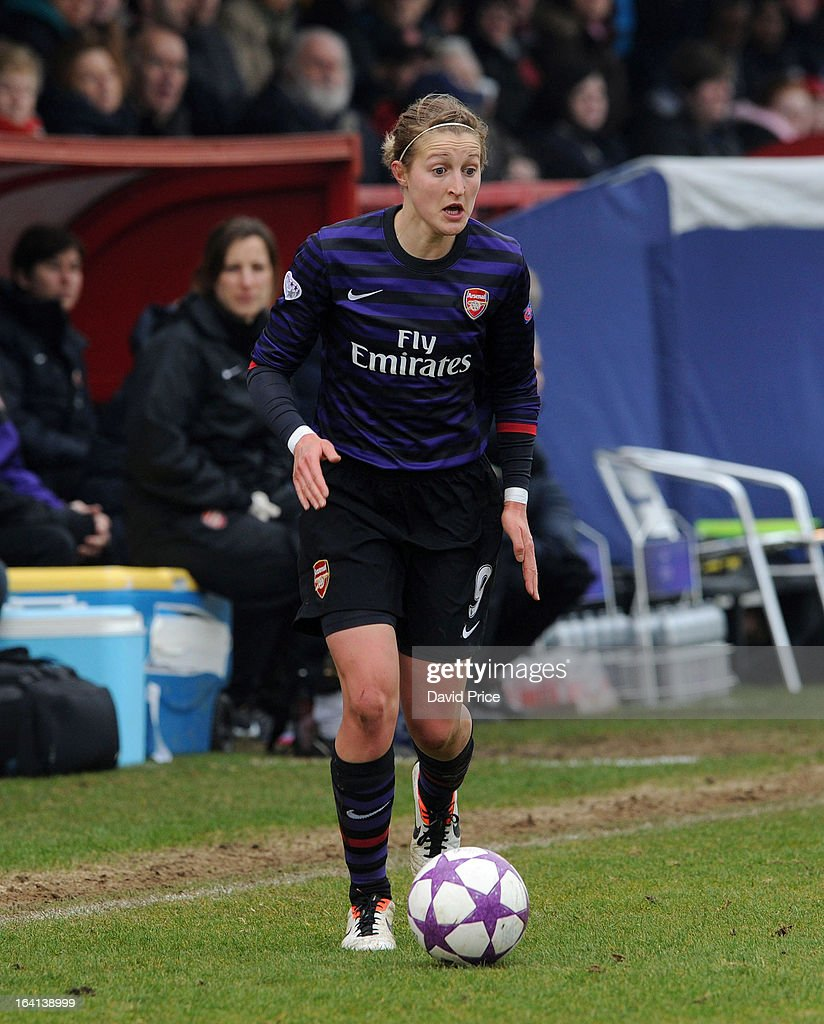 Ellen White of Arsenal Ladies FC during the Women's Champions League Quarter Final match between Arsenal Ladies FC and ASD Torres CF at Meadow Park on March 20, 2013 in Borehamwood, United Kingdom.