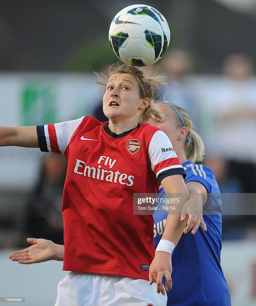 <a gi-track='captionPersonalityLinkClicked' href=/galleries/search?phrase=Ellen+White&family=editorial&specificpeople=4436830 ng-click='$event.stopPropagation()'>Ellen White</a> of Arsenal Ladies FC jumps to the ball during the FA WSL match between Arsenal Ladies FC and Chelsea Ladies FC at Meadow Park on June 06, 2013 in Borehamwood, England.