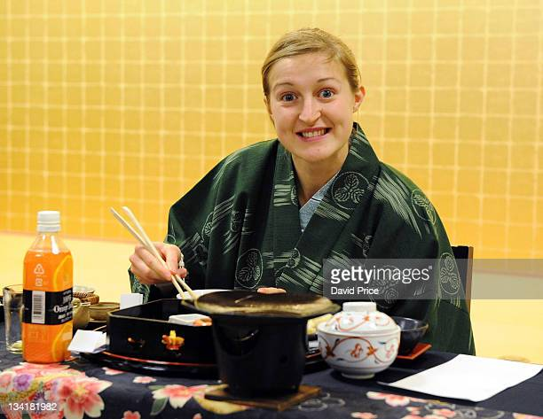 Ellen White of Arsenal Ladies FC players eats a traditional Japanese Meal in their hotel in Kyoto during their tour to Japan on November 27 2011 in...