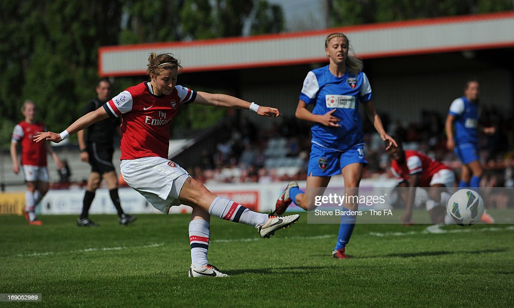 <a gi-track='captionPersonalityLinkClicked' href=/galleries/search?phrase=Ellen+White&family=editorial&specificpeople=4436830 ng-click='$event.stopPropagation()'>Ellen White</a> of Arsenal Ladies FC takes a shot during the FA WSL Continental Cup match between Arsenal Ladies FC and Bristol Academy at Meadow Park on May 19, 2013 in Borehamwood, England.