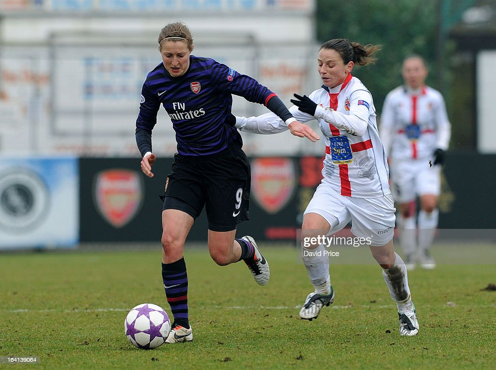 <a gi-track='captionPersonalityLinkClicked' href=/galleries/search?phrase=Ellen+White&family=editorial&specificpeople=4436830 ng-click='$event.stopPropagation()'>Ellen White</a> (L) of Arsenal Ladies FC takes on Daniela Stracchi of Torres during the Women's Champions League Quarter Final match between Arsenal Ladies FC and ASD Torres CF at Meadow Park on March 20, 2013 in Borehamwood, United Kingdom.
