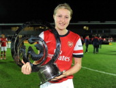 Ellen White of Arsenal Ladies poses with the trophy during the The FA WSL Continental Cup Final match between Arsenal Ladies FC and Lincoln Ladies FC...