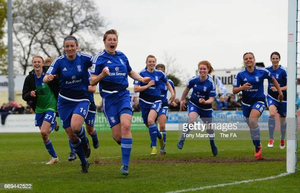 Ellen White of Birmingham City Ladies celebrates scoring the winning penalty to win the SSE Women's FA Cup SemiFinal match between Birmingham City...