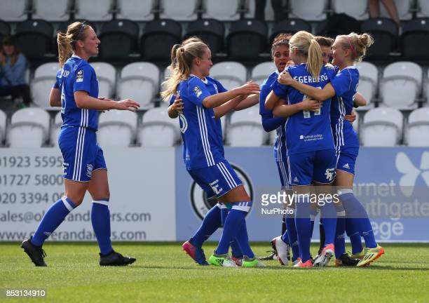 Ellen White of Birmingham City LFC celebrates scoring her sides first goal during Women's Super League 1 match between Arsenal Women FC against...