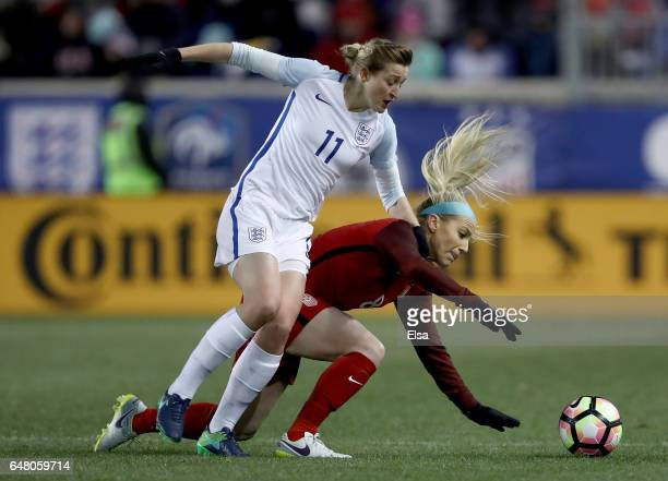 Ellen White of England and Julie Johnston of the United States fight for the ball in the second half during the SheBelieves Cup at Red Bull Arena on...