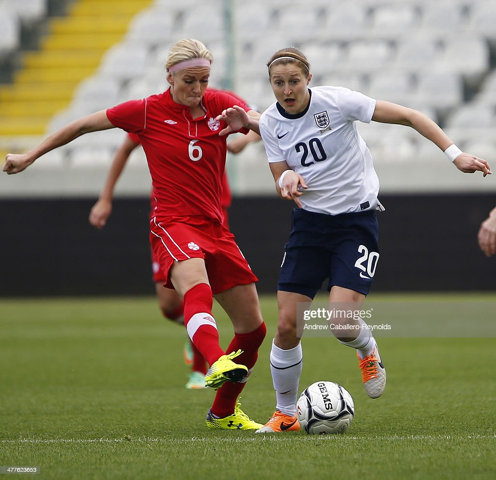 Ellen White (R) of England and Kaylyn Kyle of Canada in action during the Cyprus Cup match between England and Canada at GSP stadium on March 10, 2014 in Nicosia, Cyprus.