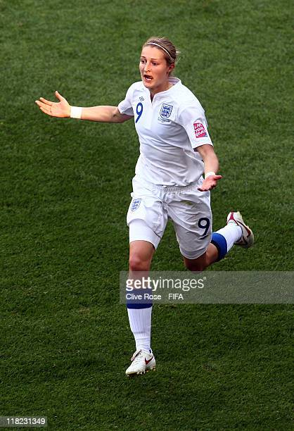 Ellen White of England celebrates her goal during the FIFA Women's World Cup Group B match between England and Japan at FIFA World Cup stadium...