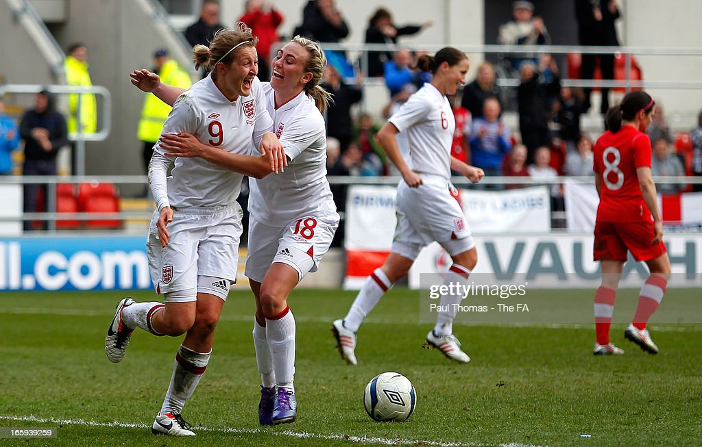 <a gi-track='captionPersonalityLinkClicked' href=/galleries/search?phrase=Ellen+White&family=editorial&specificpeople=4436830 ng-click='$event.stopPropagation()'>Ellen White</a> (L) of England celebrates her goal with team mate Toni Duggan during the International friendly match between England and Canada at The New York Stadium on April 7, 2013 in Rotherham, England.
