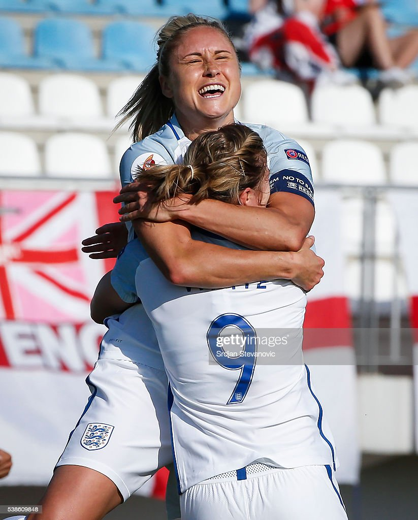 Ellen White of England celebrates scoring the second goal with the team captain Stephanie Houghton during the UEFA Women's European Championship...