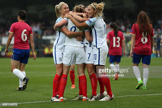 Ellen White of England celebrates with team mates Stephanie Houghton and Rachel Daly of England during the UEFA Women's European Championship...
