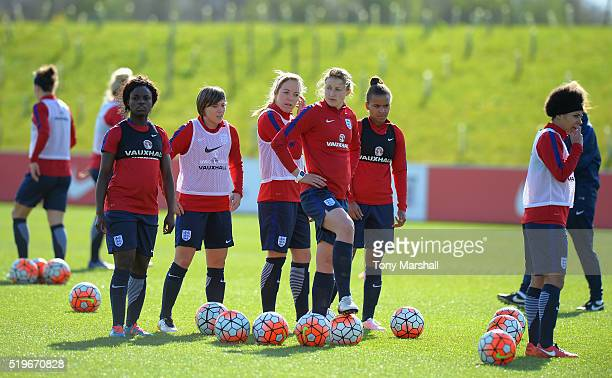 Ellen White of England during the England Women Training Session at St Georges Park on April 5 2016 in BurtonuponTrent England