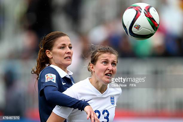 Ellen White of England is challenged by Laure Boulleau of France during the FIFA Women's World Cup 2015 Group F match between France and England at...