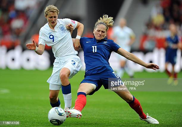 Ellen White of England is challenged by Laure Lepailleur of France during the FIFA Women's World Cup 2011 Quarter Final match between England and...