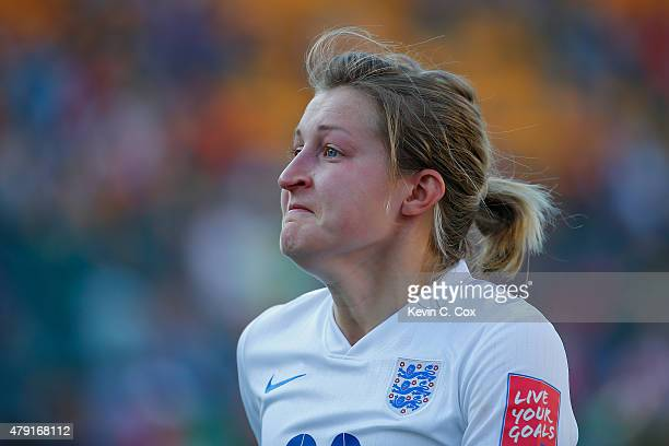 Ellen White of England looks dejected after the FIFA Women's World Cup Semi Final match between Japan and England at the Commonwealth Stadium on July...