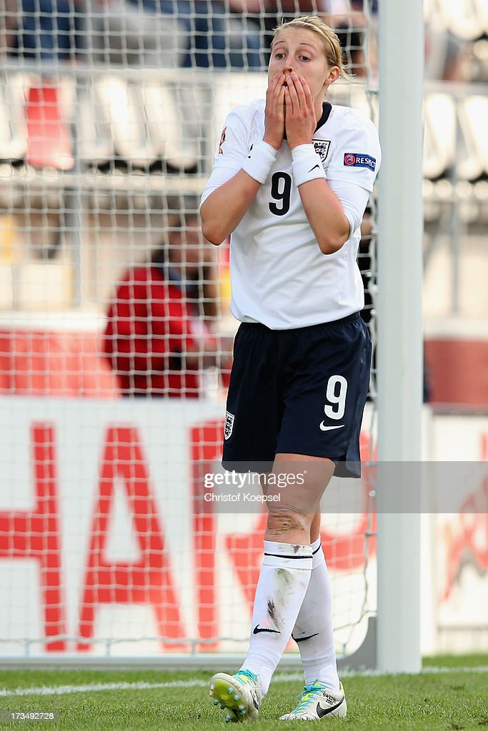 <a gi-track='captionPersonalityLinkClicked' href=/galleries/search?phrase=Ellen+White&family=editorial&specificpeople=4436830 ng-click='$event.stopPropagation()'>Ellen White</a> of England looks dejected during the UEFA Women's EURO 2013 Group C match between England and Russia at Linkoping Arena on July 15, 2013 in Linkoping, Sweden.