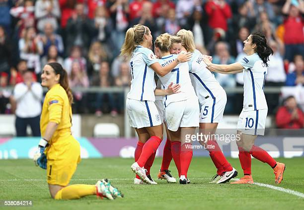 Ellen White of England scores a goal during the UEFA Women's European Championship Qualifying match between England and Serbia at Adams Park on June...