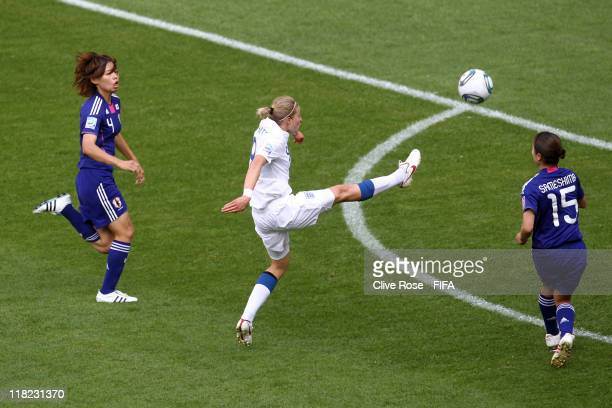 Ellen White of England scores during the FIFA Women's World Cup Group B match between England and Japan at FIFA World Cup stadium Augsburg on July 5...