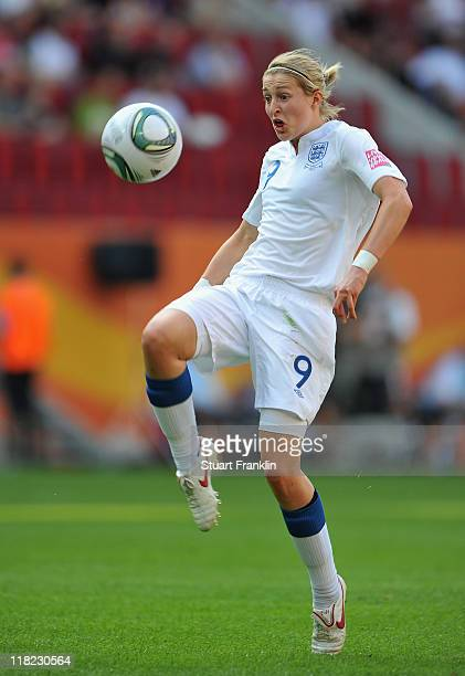 Ellen White of England scores the first goal during the FIFA Women's World Cup 2011 group B match between England and Japan at the FIFA World Cup...