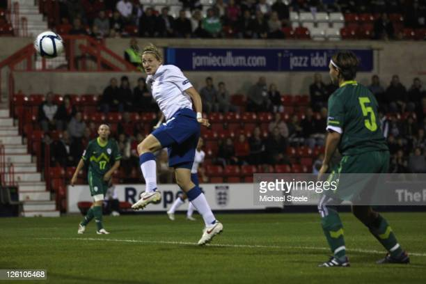Ellen White of England scores the second goal during the England v Slovenia UEFA Women's Euro 2013 qualifying match at the County Ground on September...