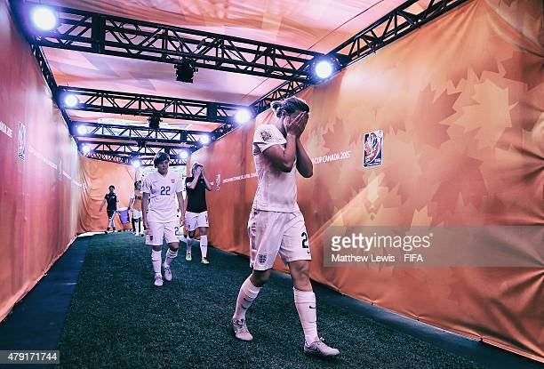 Ellen White of England walks down the tunnel after her team lost to Japan during the FIFA Women's World Cup 2015 Semi Final match between Japan and...
