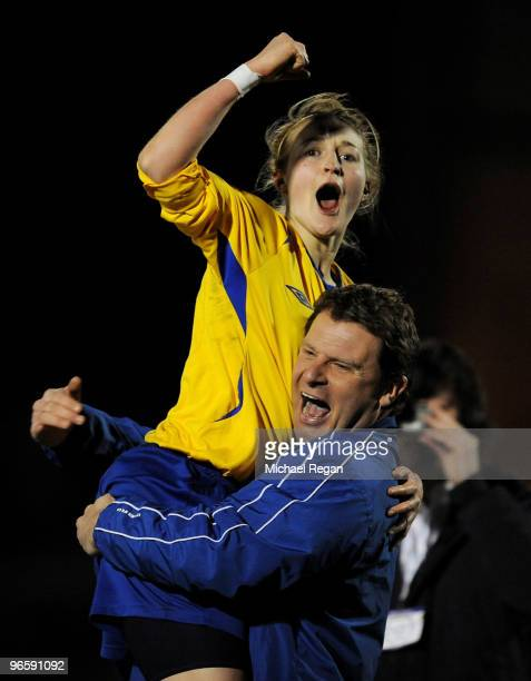 Ellen White of Leeds Carnegie celebrates with her manager Rick Passmoor during the FA Tesco Women�s Premier League Cup Final between Everton and...