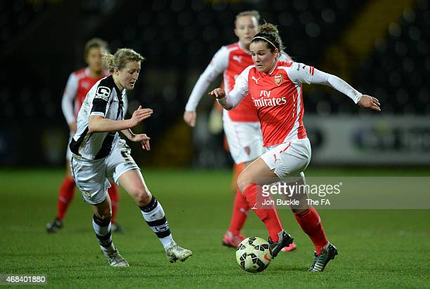 Ellen White of Notts County Ladies FC battles for the ball with Emma Mitchell of Arsenal Ladies FC during to the Notts County Ladies FC v Arsenal...